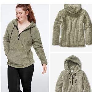 XS PINK Teddy Half ZIP Pullover - Oversized